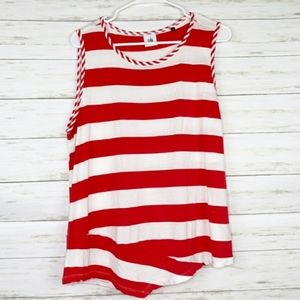 CAbi Red White Striped Tank Asymetrical Small